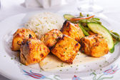 Zesty Chicken Shish Kebabs served on a Lavash Bread with rice Pi — Stock Photo