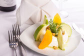 Strained Yogurt Labneh Citrus Salad Garnished with Dill and Waln — Stock Photo