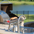 Cooking Cedar Salmon on the Barbecue at the Outdoor Kitchen — Stock Photo