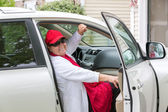Senior Adult on the Passenger seat getting ready for Trip — Stock Photo