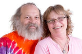 Genuinly Happy Baby Boomer Couple Looking at you Smiling — Stock Photo