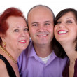 Happy Man with his Mother and Sister Together Trio Portrait — Stock Photo