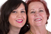 Senior Mother and Middle Age Daughter Cheek to Cheek — Stock Photo