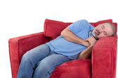 Man fallen asleep while watching television — Stock Photo
