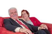 Smiling happy attractive senior couple — Stock Photo