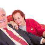 Stylish elderly couple sitting on a red sofa — Stock Photo #38002229