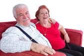 Coppia di anziani rilassata gioiosa — Foto Stock