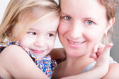 Beautiful happy mother and her little daughter — Stock Photo