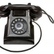 Classic old black rotary dial-up telephone — Stock Photo #40322701