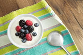 Delicious yogurt and fresh berries for breakfast — Stock Photo