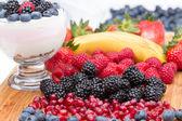 Preparing a delicious creamy fruit dessert — Stock Photo
