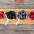 Taster dishes of assorted autumn berries — Stock Photo