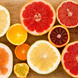 Colorful festive assortment of citrus fruit — Stock Photo