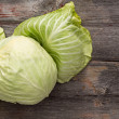 Stock Photo: Fresh green cabbage on wooden table