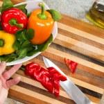 Man preparing a healthy fresh salad — Stock Photo