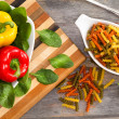 Ingredients for a delicious fusilli pasta — Stock Photo #42208611