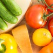 Colourful background of healthy fresh groceries — Stock Photo