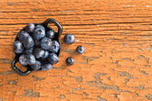 Ramekin of fresh ripe blueberries — Stock Photo