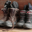 Stock Photo: Adult and kids old winter snow boots