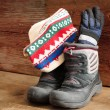 Stock Photo: Childs snow boots with winter cap and gloves