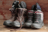 Adult and kids old winter snow boots — Stock Photo