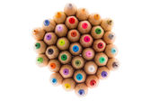 Sharp wooden colored pencils, shot from above — Stock Photo