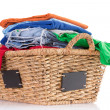 Stock Photo: Clewashed fresh clothing in wicker basket