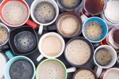 Arka plan tam sıcak taze kahve kupalar — Stok fotoğraf