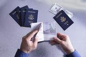 Douanes ou fonctionnaire de frontière vérifiant un passeport — Photo
