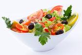 Fresh Mediterranean salad seasoned with pure olive oil and oregano — Stock Photo