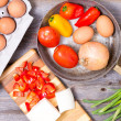 Preparing ingredients for a tasy omelette — Stock Photo