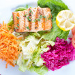 Grilled salmon steak with fresh vegetables — Stock Photo #47271103