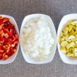 Постер, плакат: Fresh chopped vegetable cooking ingredients
