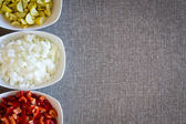 Border of fresh diced vegetables for cooking — Stock Photo