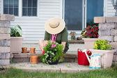 Elderly lady potting up new houseplants — Stock Photo