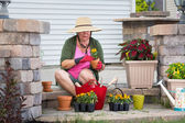 Senior lady potting up plants in flowerpots — Stock Photo