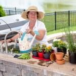 Friendly elderly lady watering her houseplants — Stock Photo #49169787