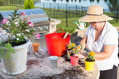 Active senior woman potting ornamental flowers — Stock Photo