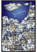 Cartoon winter fairytale town — Stock Vector