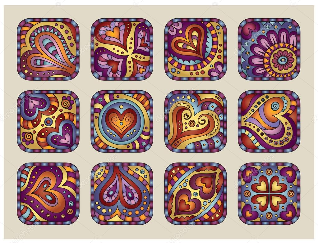 Vector Hand-Drawn decorative Valentine's day icons set 2  Stock Vector #18547563