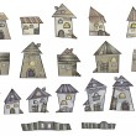 Series of cartoon vector fairytale houses — Stock Vector