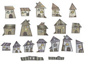 Series of cartoon vector fairytale houses — Vecteur