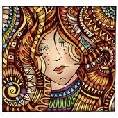 Decorative cartoon red hair girl illustration — Stock Vector