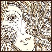 Wektor włos ozdobny dziewczynka ilustracja monochromatyczne — Wektor stockowy