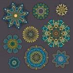 Set of ornamental Floral elements for design — Stock Vector