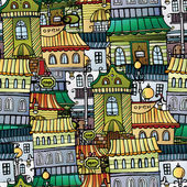 Cartoon vector fairy tale drawing town. seamless pattern — 图库矢量图片
