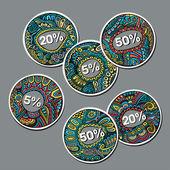 Set verkoop decoratieve vector etiketten — Stockvector