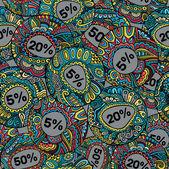 販売装飾的なベクトルのラベルのシームレスなパターン — ストックベクタ