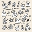 Vector aliens and monsters hand drawn set — Stock Vector
