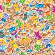 Cartoon kids seamless pattern — Stock Vector